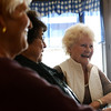 Globe/Roger Nomer <br /> Doris Dalbom, right, shares a story with Bobby Hounschell, center, and Colene Frencken at the Lentz-Carter Cafe in Stella over breakfast on Friday.