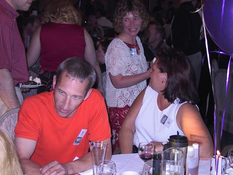Steveston High 25 year reunion, June 1, 2002.  L - Darren Pearson, Susie Klimek, R - Leora Morris