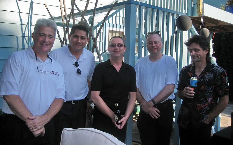 At Kelly's 50th 2009-08-29;  L-R Carl L, Mike L, Carl F, Mark P, Kelly L.