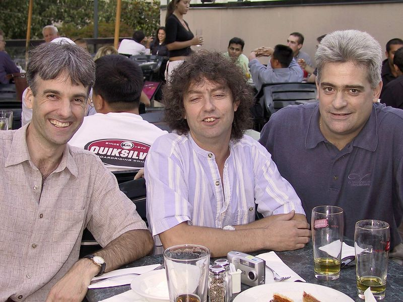 Old Pals... September 13, 2002.  Dinner at Earls on Robson, first time together in ?? 10 years?     L - Mike Vance, Carl Fisher, R - the author.  Which one is the musician?  ; )  LOL