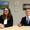 Lowell Catholic seniors Bridget Provost, 17, of North Andover, and Daniel Russell, 17, of Dracut, who run the Leaders in Lowell speaker series. Greater Lowell Community Foundation is letting them use their office space to work from. (SUN/Julia Malakie)
