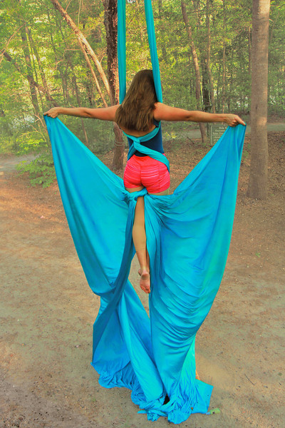 Aerialist Aubry McMahon at the Broad River Greenway.