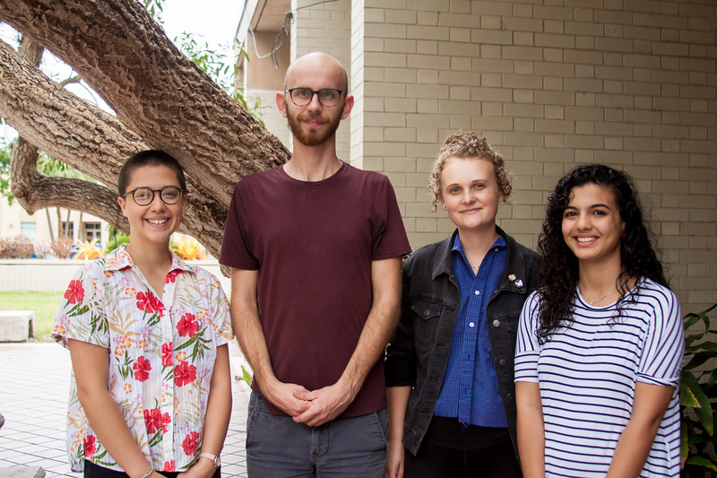 The Bates Award winners for 2018 include, from left, Sara Friend, Rory Sharp, Sara Gregory and Leen Al-Fatafta. Not pictured are Jessica Brown and Hannah Sine.