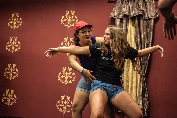 Amy Bernard and Juliana Lind take their turn on stage during a recent Comedy Friends! rehearsal.