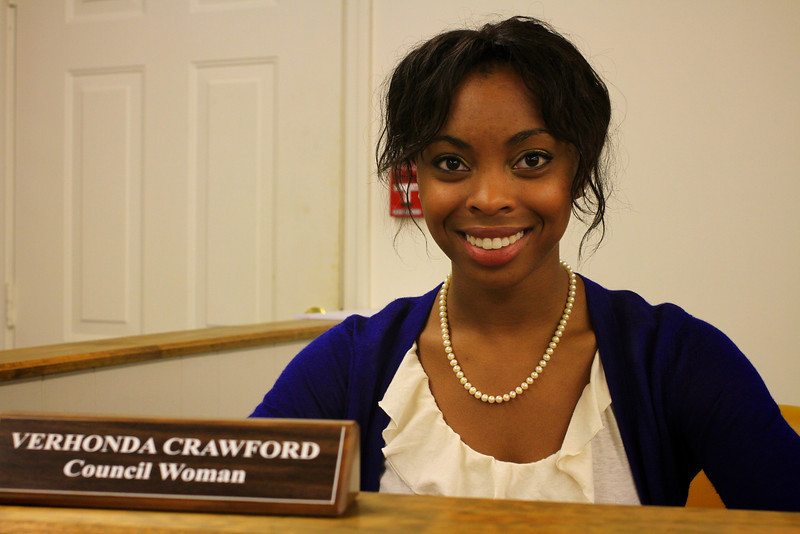 Verhonda Crawford, GWU Student and youngest elected official in the state of South Carolina, at a Chesne City Council Meeting.