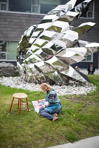 Students drawing the sculpture outside of the ConocoPhillips Integrated Science Building on the campus of the University of Alaska Anchorage.  20170912-sculpture-drawing-TEK-005.JPG