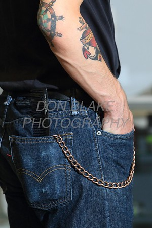 Joey Napolizzi is wearing a black cotton shirt; Classic Levi jeans; black leather belt; brass metal wallet chain at Trolly Grooming Lounge in Wilmington. Sepecial to the News Journal/Don Blake