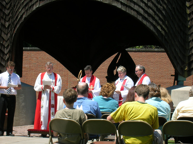 Confirmation at the Roofless Church in New Harmony, June 2007