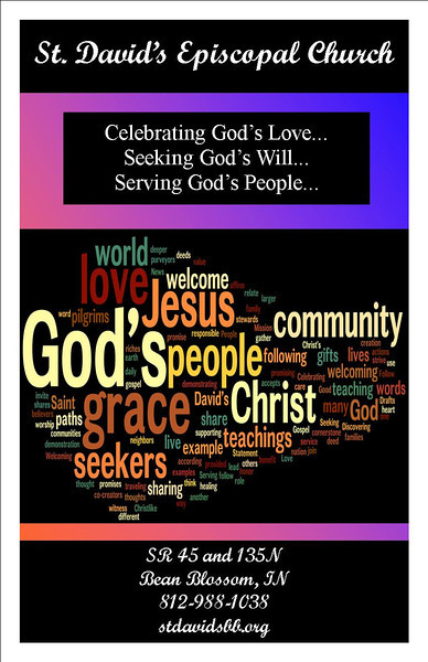 St. David's new evangelism poster with our new mission statement: Celebrating God's Love, Seeking God's Will, Serving God's People!