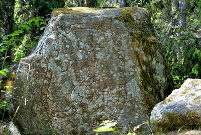 A Rune Stone on the footpath between Sigtuna and Viby Village