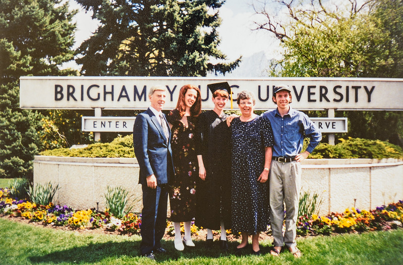 R. Scott, Kristen, Sara, Kathy, Scotty Sara's Graduation from BYU 1997