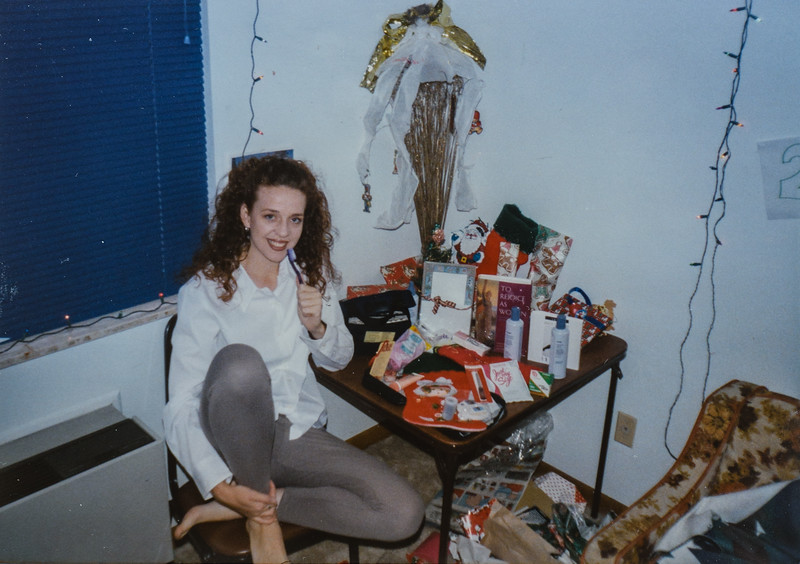 Christmas morning with some of my stuff. I'm talking into my toothbrush- I love the purple glitter Kristen! Thanks for Everything. Dec. '96