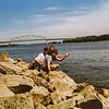 Sara, Kris, Scotty Iowa 1992 Mississippi River