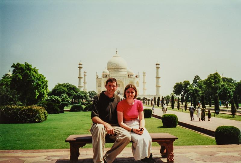 Brian and Renee at Taj Mahal Agra, India June 2000