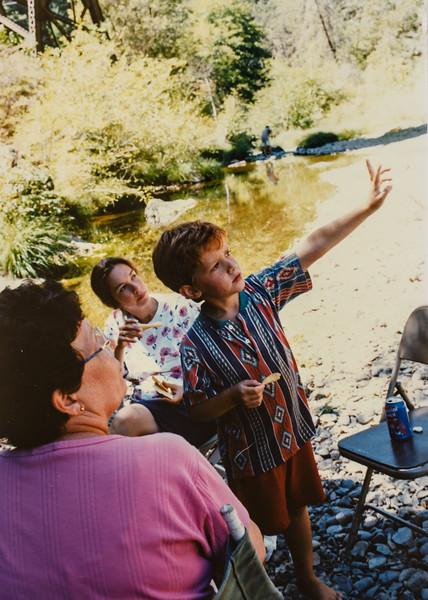 At the creek August 1996 Kathy, Jodi, Remington