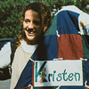Kristen Jarvie with quilt Sara made for her 1995