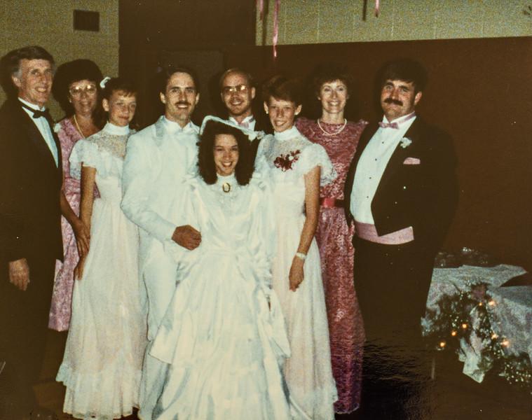 Jay and Jodi's wedding 1987 R. Scott, Kathy, Kristen, Jay, Jodi, Jeff, Sara, Vonda, Verl