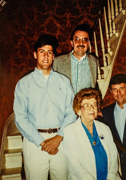 "Taken May 18, 1991 at Russell House. Mike Lamson, Don Gerow,  ""Nana"" Lamson, and Paul Lamson"