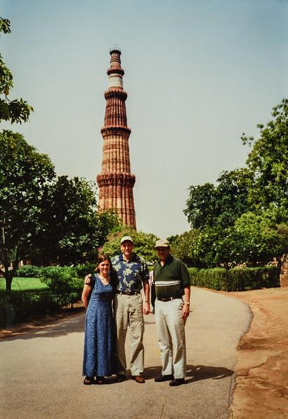 Renee, Brian, Paul, Delhi, India June 2000 800 yr old minaret