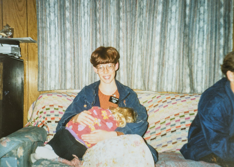 Me (Sara Jarvie) and Tasha Falconberg She's sleeping on my lap. 1994