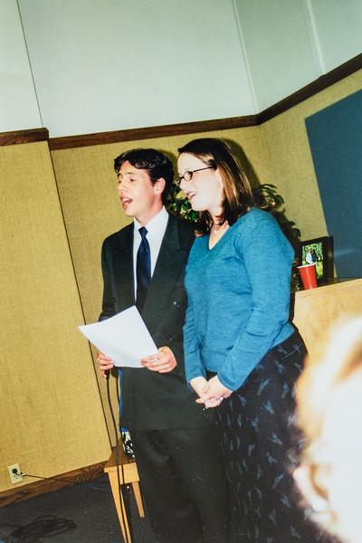 Scotty Jarvie and Kristen Lewis singing at Kristen's wedding 2001