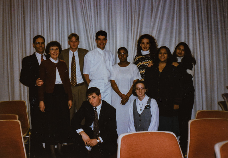 Chantelle's baptism. Pres and Sis Sloan on left and a few other missionaries and friends. Kristen Jarvie