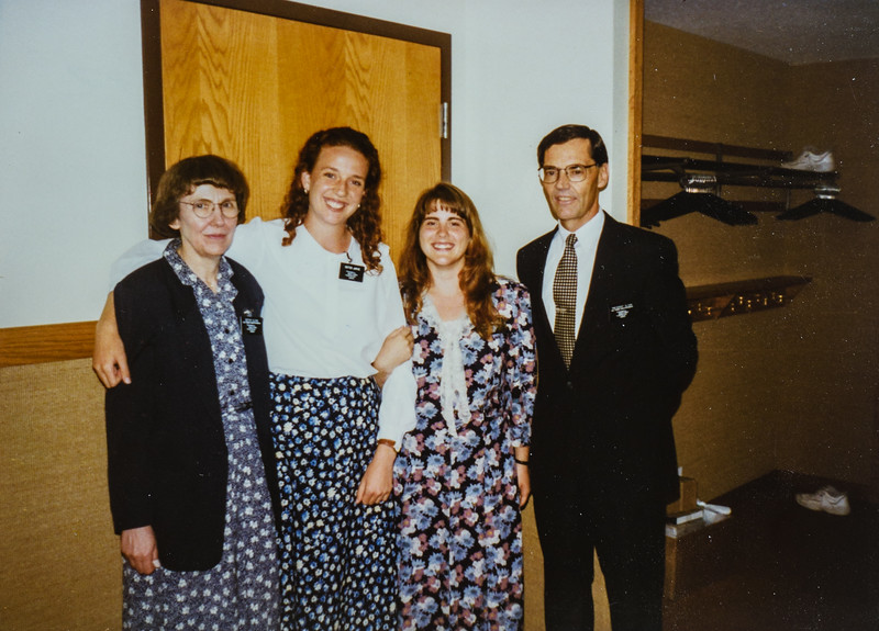 The new mission prez. President Sloan and Sister Sloan and Sister Kelly and I. Boy I can really cheese a smile can't I Kristen Jarvie 1996