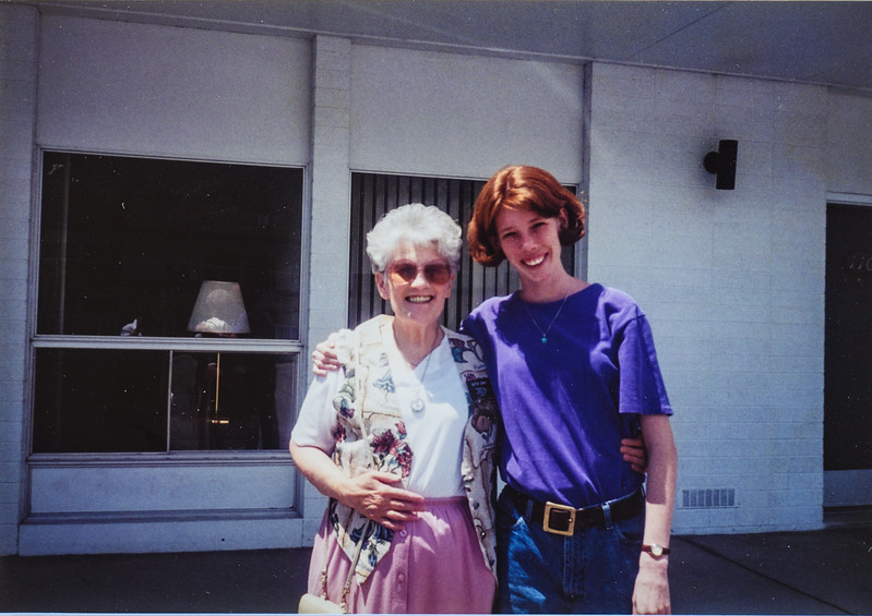 Aunt Fay and I before she left for Texas Fay Jenks and Sara Jarvie 1995