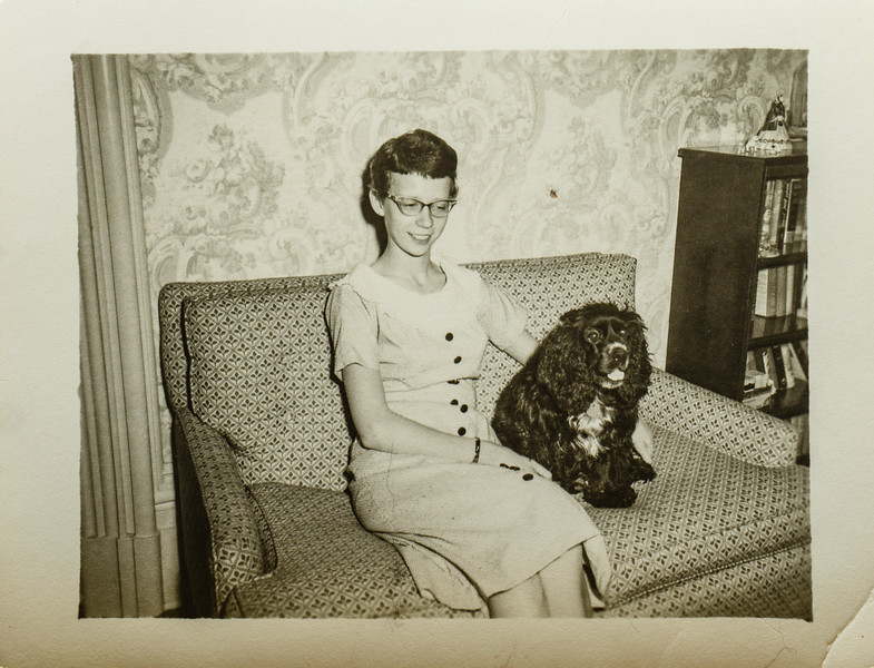 Kathleen Russell Lamson and Cindy Lamson- Dog 1957