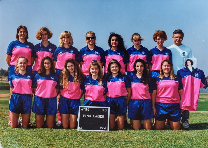 Soccer team, Sara Jarvie, Sara Quinney, Kristen Jarvie 1991