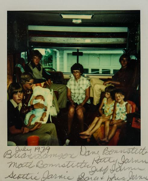 July 1979 Biran Lamson, Dave Bonnstetter, Matt Bonnstetter, Kathy Jarvie, Jeff Jarvie, Scottie Jarvie, Sara and Kristen Jarvie