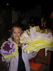Dru with a good haul of paper flowers