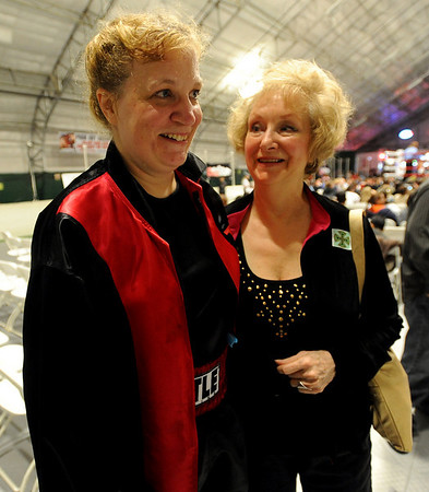 Tawnia Wormell is congratulated by her mother, Rose Mary Hill, after her first boxing win.<br /> Cliff Grassmick / November 12, 2009