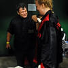 Trainer Dave Gaudette celebrates Tawnia's win in her first professional fight.<br /> Cliff Grassmick / November 12, 2009