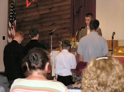 Young men taking the offering on Teen night October 31,2004