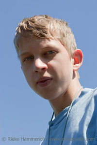 Teenage Boy Portrait - In front of blue Sky