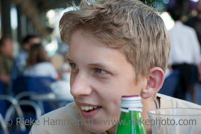 Teenage Boy Portrait in a Sidewalk Cafe –Victoria, Vancouver Island, British Columbia, Canada