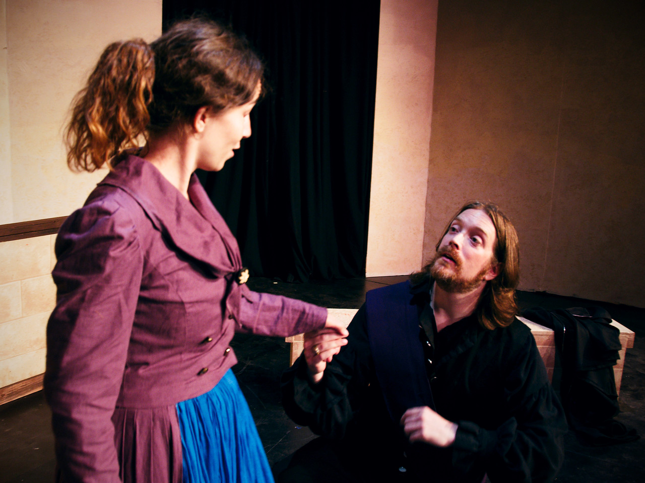 Faint heart never won fair lady: Petruchio at last meets Kate.<br /> <br /> Polly Edwards, Nicholas Oddson.
