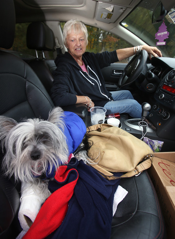 . Tewksbury Meals on Wheels volunteers prepare lunches for delivery, at the Tewksbury Senior Center. Volunteer driver Linda Murray of Tewksbury brings her Hairless Chinese Crested, Pixie, along on delivery trips. (SUN/Julia Malakie)