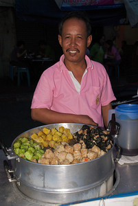 Chinatown dumpling vendor in Bangkok.