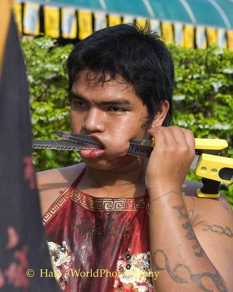 Mar Song Pierced by Saws, Phuket Vegetarian Festival, Thailand