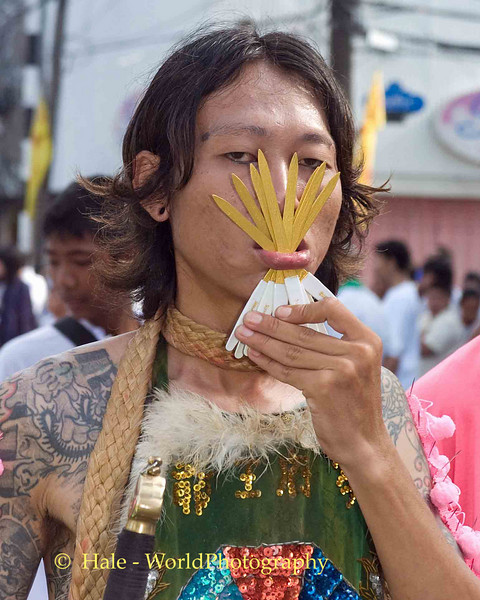 Mar Song Pierced by Nail Files, Phuket Vegetarian Festival, Thailand