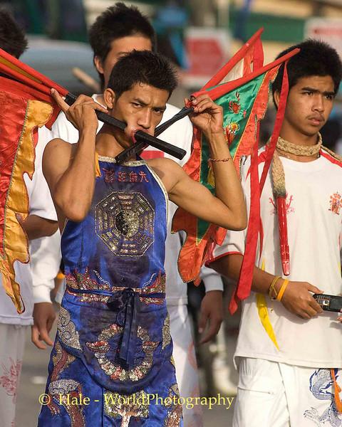 Mar Song Pierced By Banners, Phuket Vegetarian Festival, Thailand