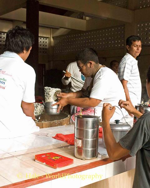 Serving Rice For Believers, Phuket Vegetarian Festival, Thailand