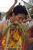 Mar Song Peirced by String Beans, Phuket Vegetarian Festival, Thailand