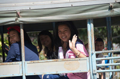 Some of the students waving goodbye.  (Sangklaburi, Thailand)