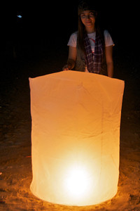 Giant candle for New Year's Eve. Sam Roi Yot Beach, Thailand