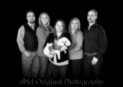 Steve & Tammy with children Jonathan & wife Nikki, & Ashton & Elsie B&W Soft Focus