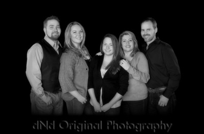 Steve & Tammy with children Jonathan & wife Nikki, & Ashton Extended Canvas For Crops - B&W with Soft Focus