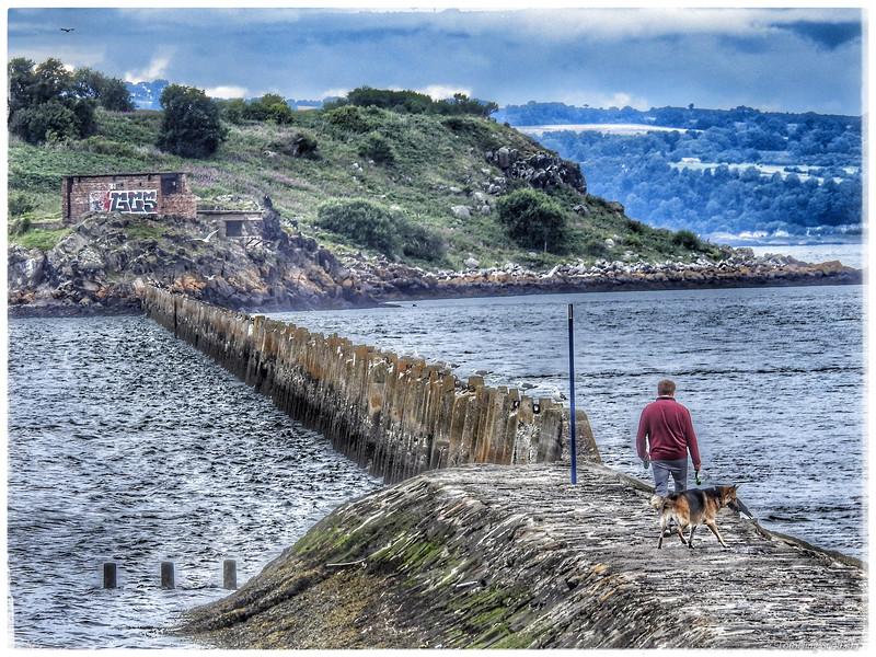 Man and dog at Cramond